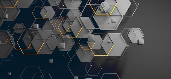 Abstrakcja sześciokątna powierzchnia geometryczna pętli. Jasny czysty minimalny sześciokątny wzór siatki