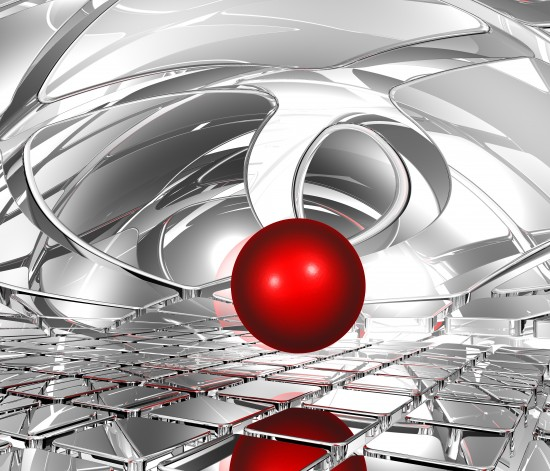 czerwona kula w przestrzeni abstrakcyjnej 3D