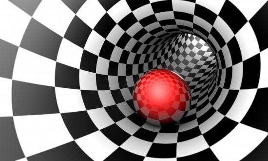 Czerwona kula w tunelu szachowym. Przestrzeń i czas. Ilustracja 3D