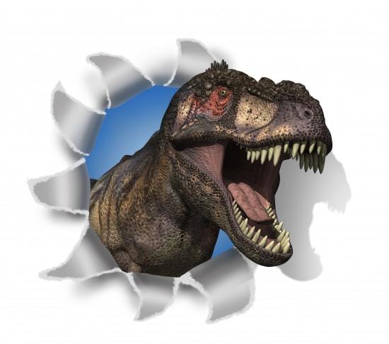 Dinozaur T-Rex rozrywa papier. Obraz 3D