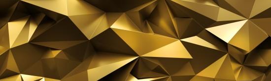 Obraz 3D, abstrakcyjne złociste krystaliczne tło, fasetowana tekstura, szeroka panoramiczna poligonalna tapeta