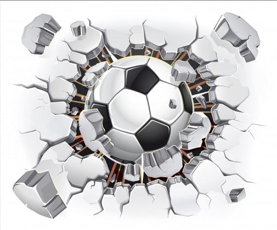Piłka nożna w murze. Ilustracja wektorowa 3D