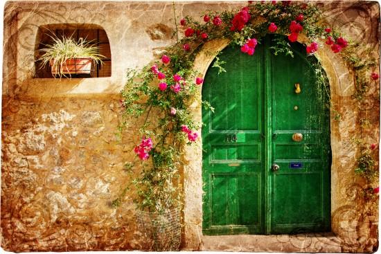 stylowe greckie drzwi - obraz w stylu retro