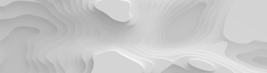 Szeroka biała panorama 3D Krajobraz Papierowy, Zakrzywione kształty z gradientami, abstrakcyjne geometryczne linie