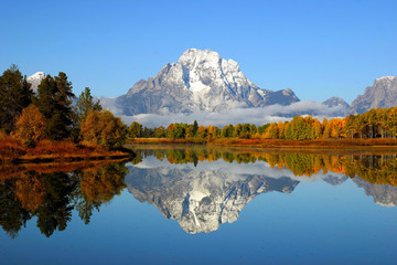 Reflection of mountain range in lake, Grand Teton National Park