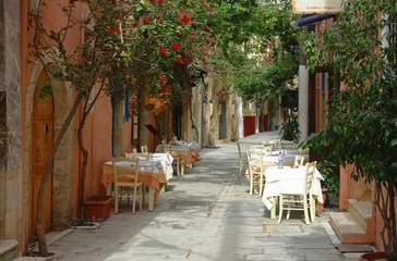crète Réthymno ruelle et restaurant