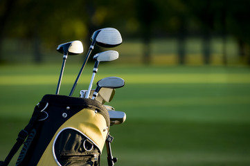 A set up new golf clubs on a beautiful golf course