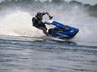 Man on jet ski in the river