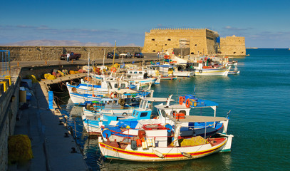 Venetian port with a fortress in the city of Iraklion, Crete