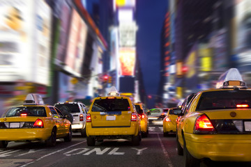 Yellow Taxi in Time Square, New York City