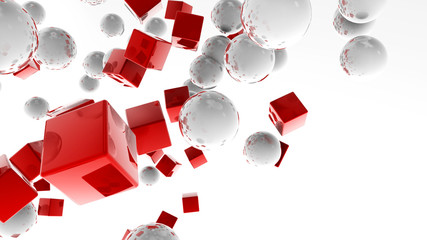 White balls and red cubes flying in the white space