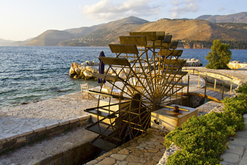 Traditional water mill at the sinkholes on Lassi of Kefalonia