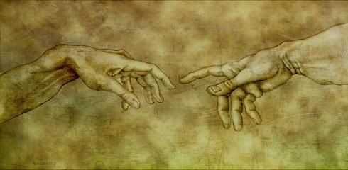 After Michelangelo - Adam and God