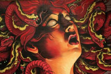 graffiti Medusa on stone wall