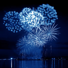 Celebratory blue firework