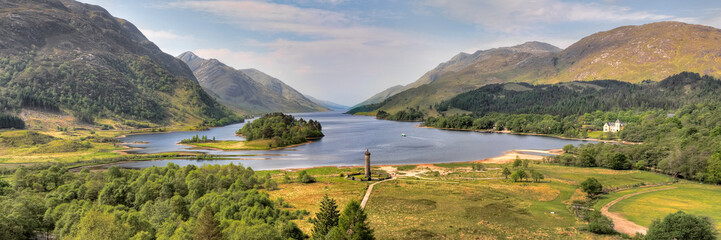 Panorama of the Glenfinnan Monument and Loch Shiel,Scotland