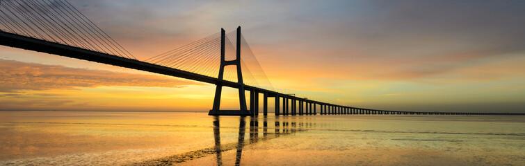 Panorama image of the Vasco da Gama bridge in Lisbon