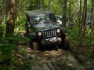 jeep pris dans la boue, en forêt