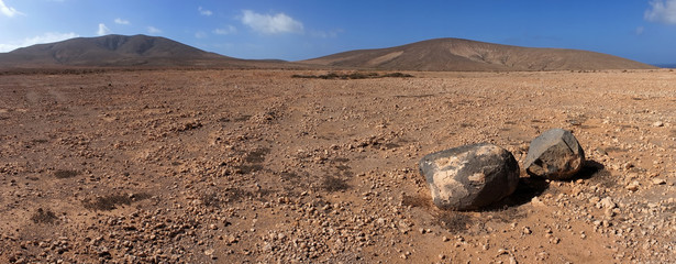 Panorama of rock and volcanic desert, Fuerteventura, Canary Isla