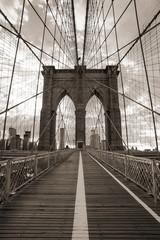 Brooklyn Bridge in New York City. Sepia tone.