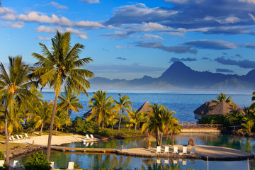 Ocean at sunset. Polynesia. Tahiti...
