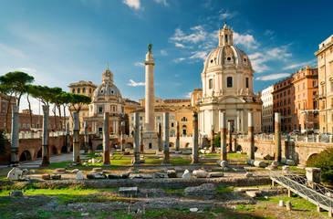 Trajan's Column in the forum of Trajan in Rome, Italy