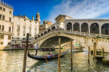 Gondola at the Rialto bridge in Venice, Italy