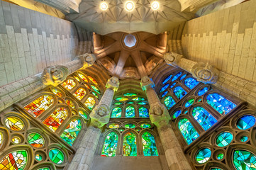 Sagrada Familia of Barcelona in Spain, Europe.