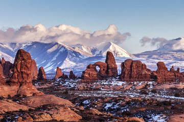 Turret Arch at sunset. Arches National Park, Utah