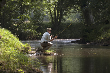Fly fishing on an English river