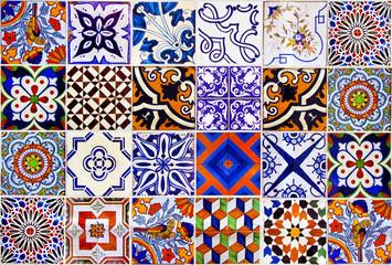 Close up traditional Lisbon ceramic tiles