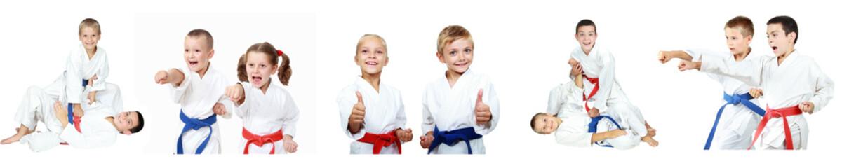 Children athletes perform reception self-defense collage