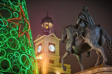 Felipe III statue in the Puerta del Sol of Madrid at Christmas