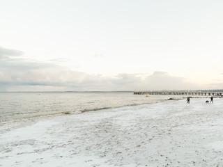 Baltic sea Gdynia, pier in Orlowo Poland. Winter scenery