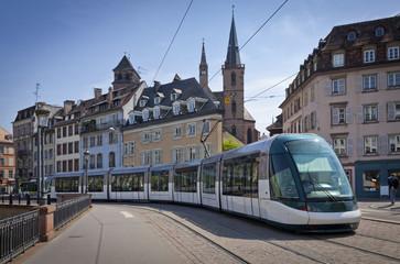 Modern tram on the streets of Strasbourg, France