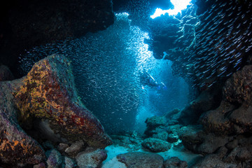 Diver in Underwater Cavern