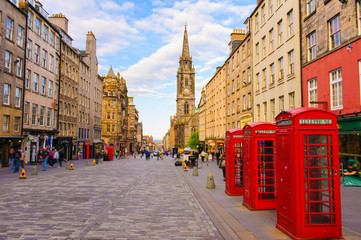 street view of Edinburgh, Scotland, UK