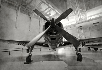 Old airplane in a hangar