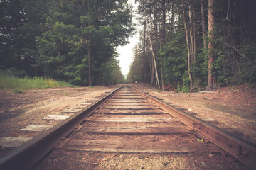 Retro toned rural railroad tracks