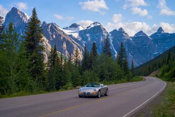 sports car, moraine lake road