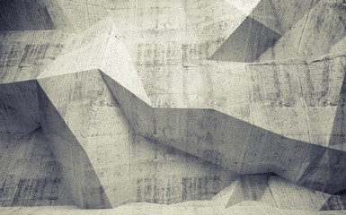 Abstract toned concrete 3d interior with polygonal pattern on th