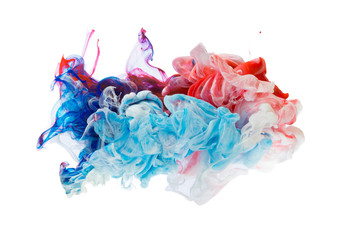 Colored ink isolated on white background