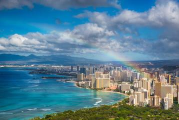 Rainbow over Hawaii skyline