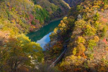 Tenryu river in Autumn, in Nagano, Japan