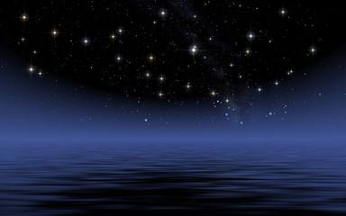 Calm sea in starry night