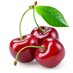 Cherry with leaf isolated on white.