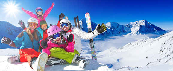 Ski, winter, snow - family enjoying winter vacation