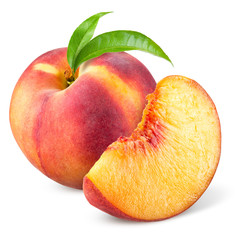 Peach with slice and leaves isolated on white