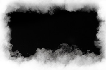 smoke cloud frame, isolated on black