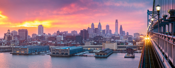 Philadelphia panorama under a hazy purple sunset